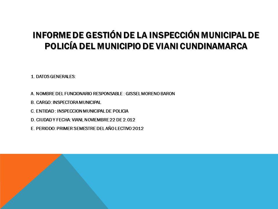 INFORME DE GESTIÓN DE LA INSPECCIÓN MUNICIPAL DE POLICÍA DEL MUNICIPIO DE VIANI CUNDINAMARCA 1. DATOS GENERALES: A. NOMBRE DEL FUNCIONARIO RESPONSABLE