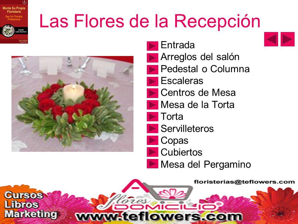 Las Flores de la Recepción Entrada Arreglos del salón Pedestal o Columna Escaleras Centros de Mesa Mesa de la Torta Torta Servilleteros Copas Cubiertos Mesa del Pergamino