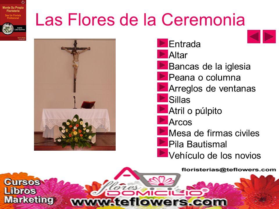 Las Flores de la Ceremonia Entrada Altar Bancas de la iglesia Peana o columna Arreglos de ventanas Sillas Atril o púlpito Arcos Mesa de firmas civiles Pila Bautismal Vehículo de los novios