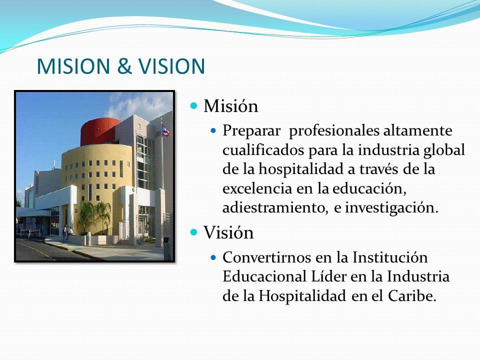 MISION & VISION Misión Preparar profesionales altamente cualificados para la industria global de la hospitalidad a través de la excelencia en la educa