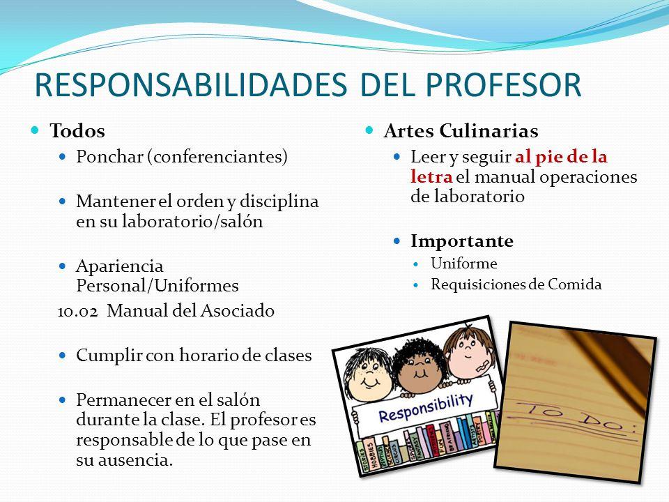 RESPONSABILIDADES DEL PROFESOR Artes Culinarias Leer y seguir al pie de la letra el manual operaciones de laboratorio Importante Uniforme Requisicione