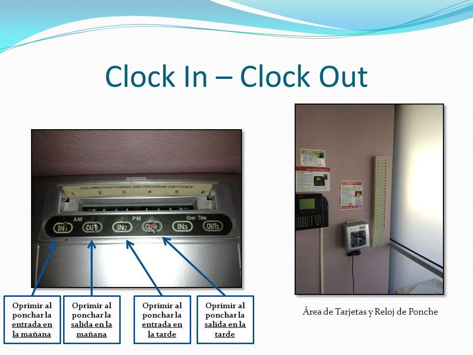 Clock In – Clock Out Oprimir al ponchar la entrada en la mañana Oprimir al ponchar la salida en la mañana Oprimir al ponchar la entrada en la tarde Op