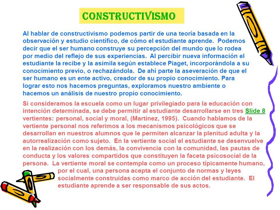 Constructivismo Al hablar de constructivismo podemos partir de una teoría basada en la observación y estudio científico, de cómo el estudiante aprende