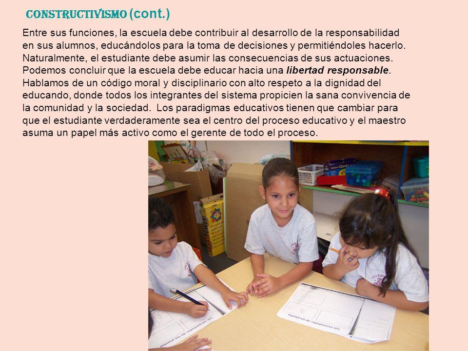 Entre sus funciones, la escuela debe contribuir al desarrollo de la responsabilidad en sus alumnos, educándolos para la toma de decisiones y permitién