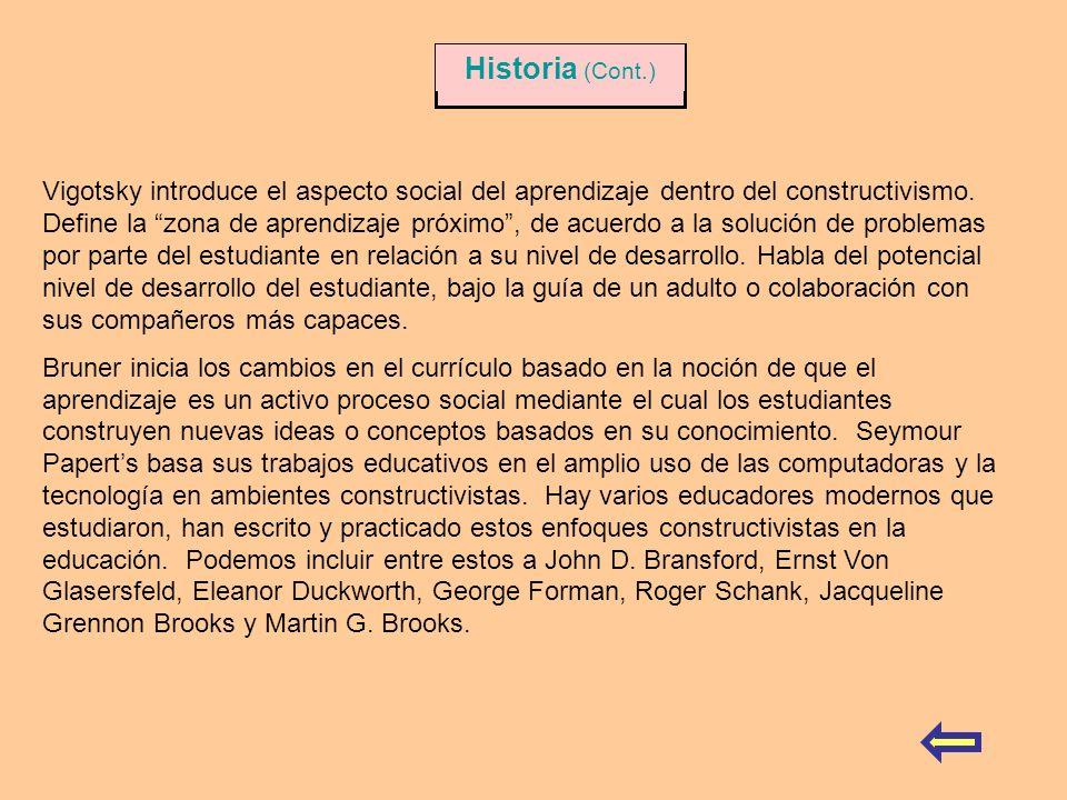 Vigotsky introduce el aspecto social del aprendizaje dentro del constructivismo. Define la zona de aprendizaje próximo, de acuerdo a la solución de pr
