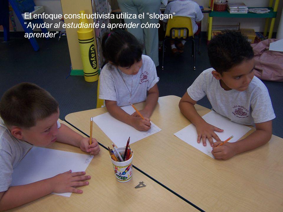 El enfoque constructivista utiliza el sloganAyudar al estudiante a aprender cómo aprender.