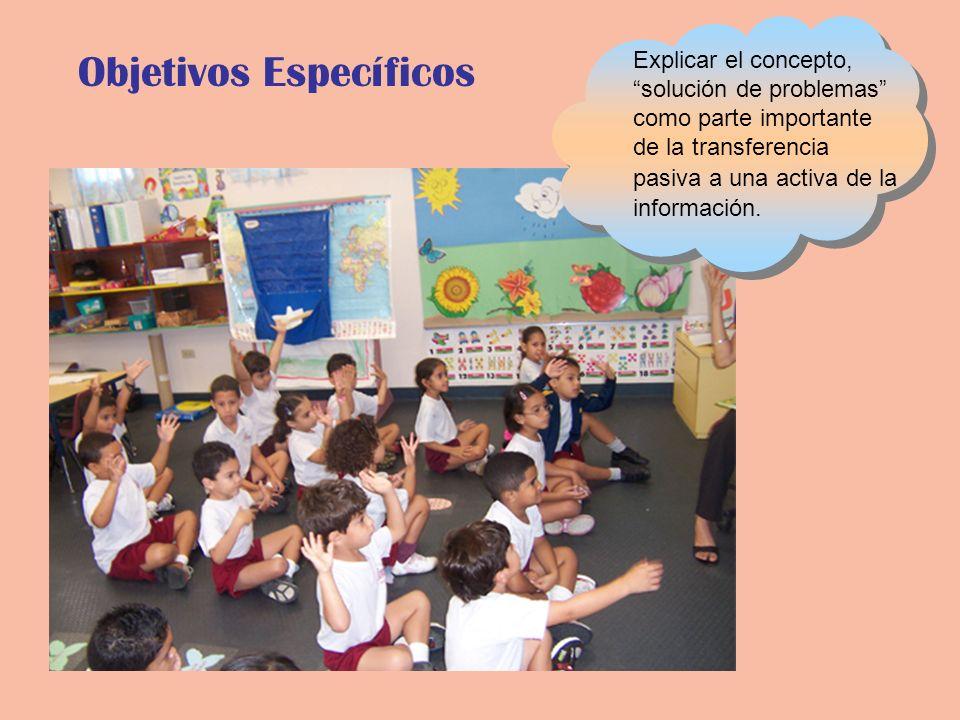 Objetivos Específicos Explicar el concepto, solución de problemas como parte importante de la transferencia pasiva a una activa de la información.