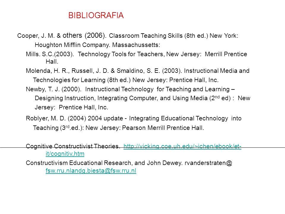 BIBLIOGRAFIA Cooper, J. M. & others (2006). Classroom Teaching Skills (8th ed.) New York: Houghton Mifflin Company. Massachussetts: Mills. S.C.(2003).
