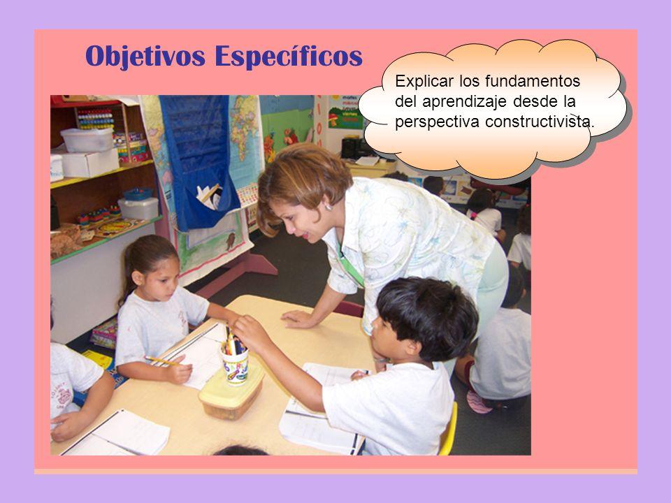 Objetivos Específicos Explicar los fundamentos del aprendizaje desde la perspectiva constructivista.