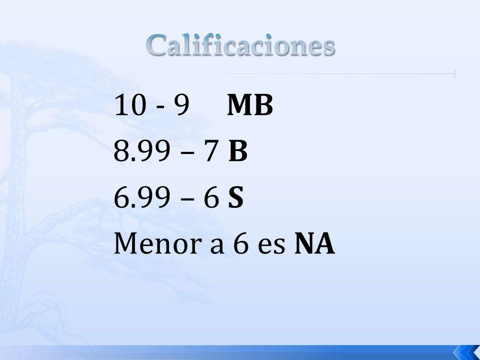 10 - 9 MB 8.99 – 7 B 6.99 – 6 S Menor a 6 es NA