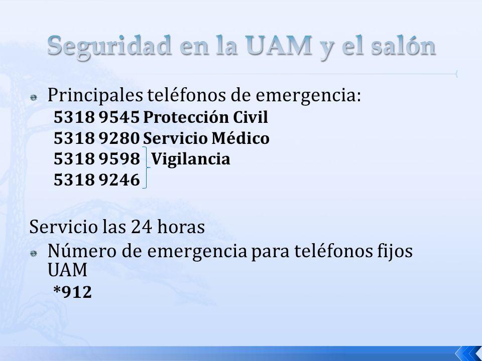 Principales teléfonos de emergencia: 5318 9545 Protección Civil 5318 9280 Servicio Médico 5318 9598 Vigilancia 5318 9246 Servicio las 24 horas Número de emergencia para teléfonos fijos UAM *912
