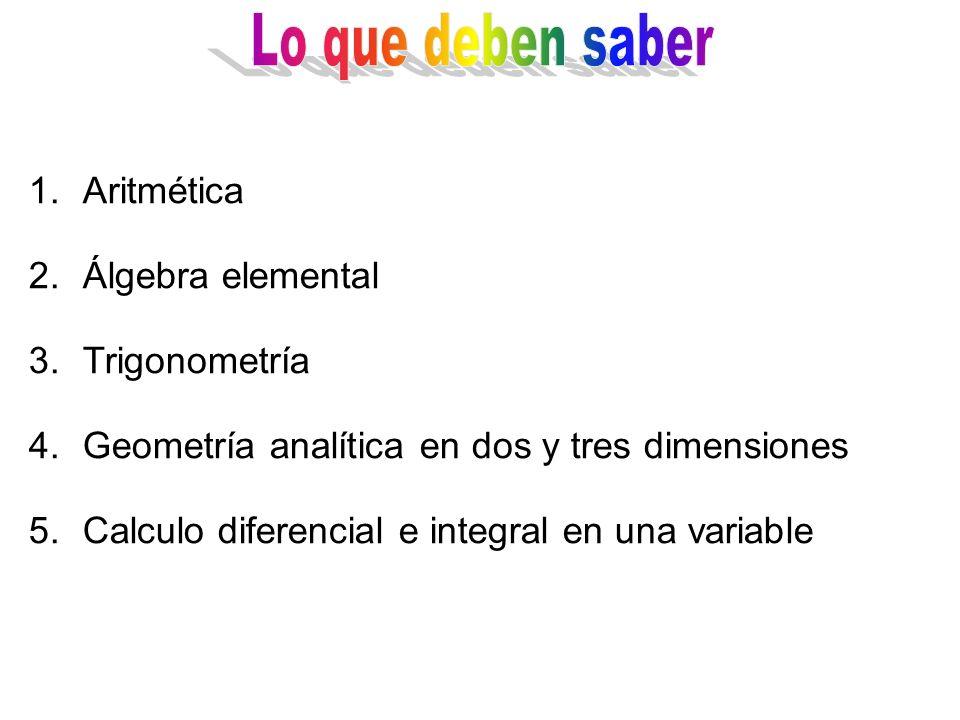1.Aritmética 2.Álgebra elemental 3.Trigonometría 4.Geometría analítica en dos y tres dimensiones 5.Calculo diferencial e integral en una variable