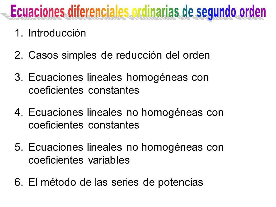 1.Introducción 2.Casos simples de reducción del orden 3.Ecuaciones lineales homogéneas con coeficientes constantes 4.Ecuaciones lineales no homogéneas