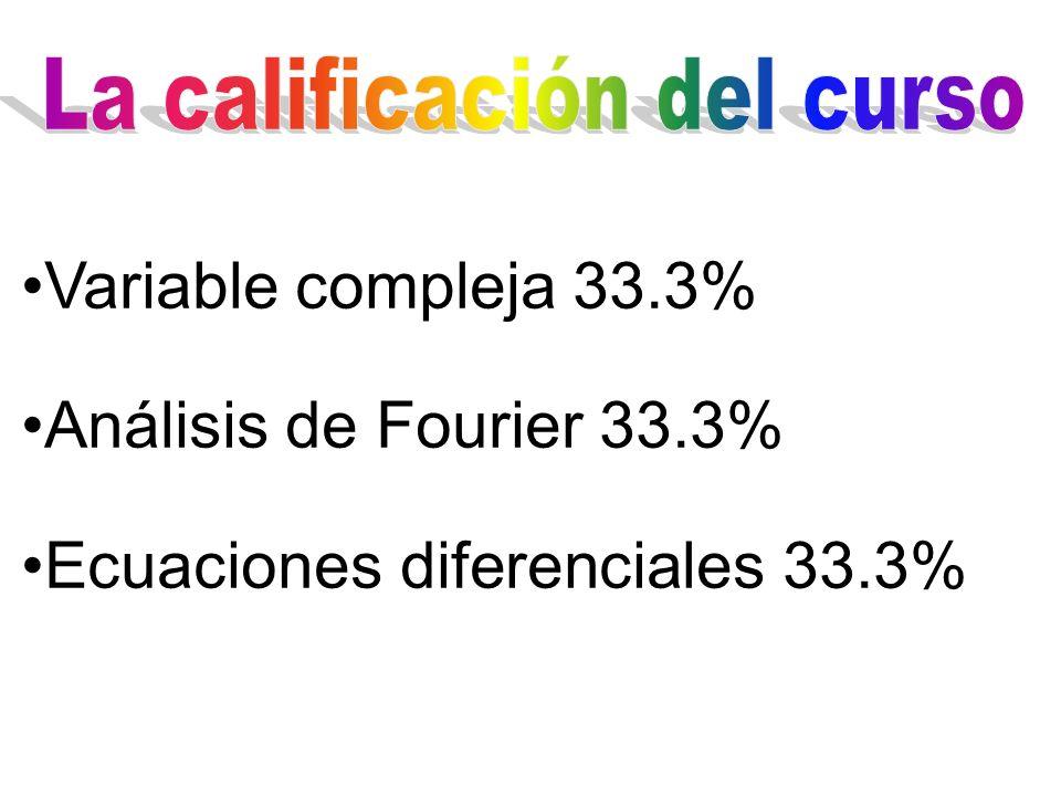 Variable compleja 33.3% Análisis de Fourier 33.3% Ecuaciones diferenciales 33.3%