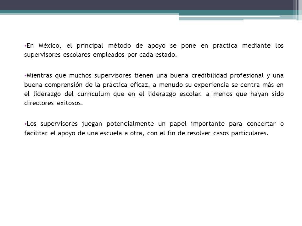 En México, el principal método de apoyo se pone en práctica mediante los supervisores escolares empleados por cada estado.