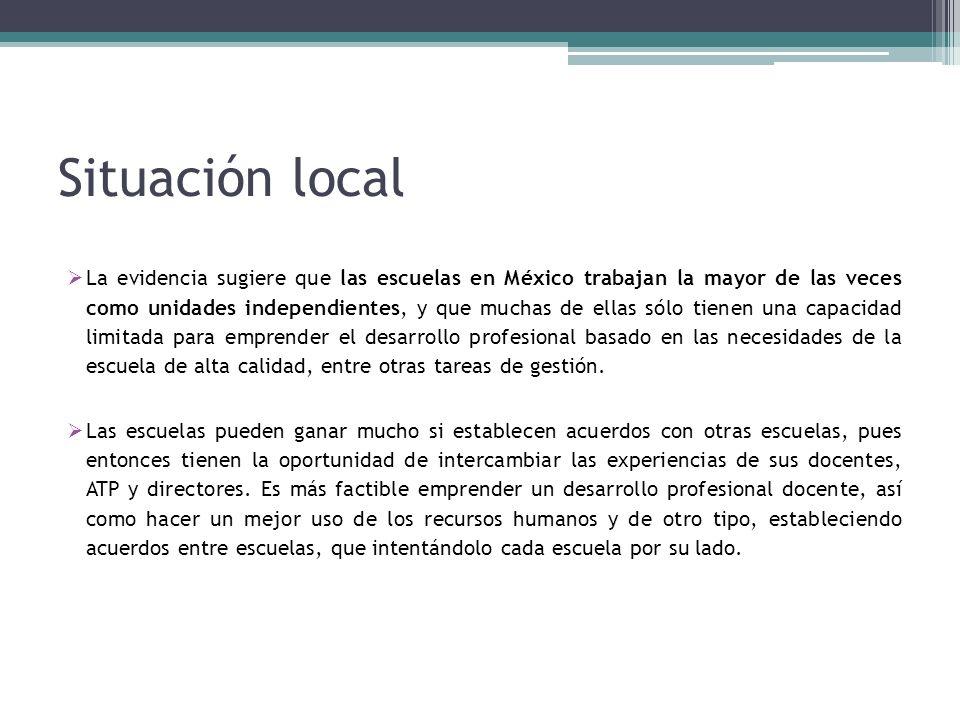Situación local La evidencia sugiere que las escuelas en México trabajan la mayor de las veces como unidades independientes, y que muchas de ellas sólo tienen una capacidad limitada para emprender el desarrollo profesional basado en las necesidades de la escuela de alta calidad, entre otras tareas de gestión.