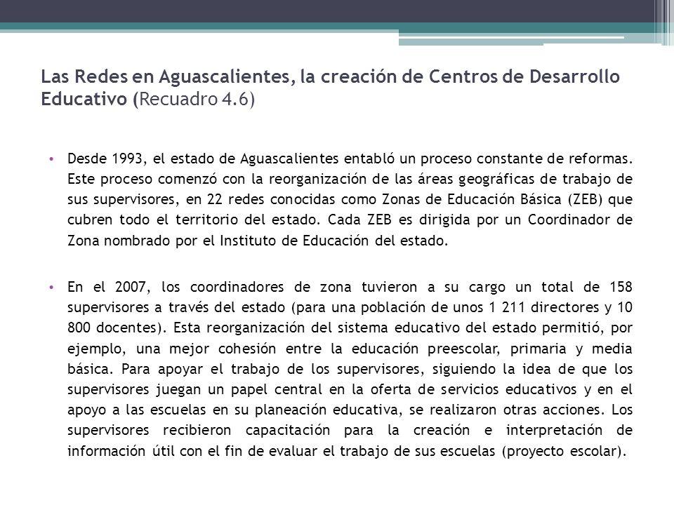 Las Redes en Aguascalientes, la creación de Centros de Desarrollo Educativo (Recuadro 4.6) Desde 1993, el estado de Aguascalientes entabló un proceso constante de reformas.
