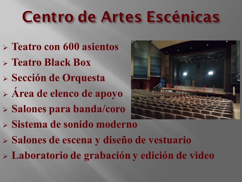 Centro de Artes Escénicas Teatro con 600 asientos Teatro Black Box Sección de Orquesta Área de elenco de apoyo Salones para banda/coro Sistema de soni