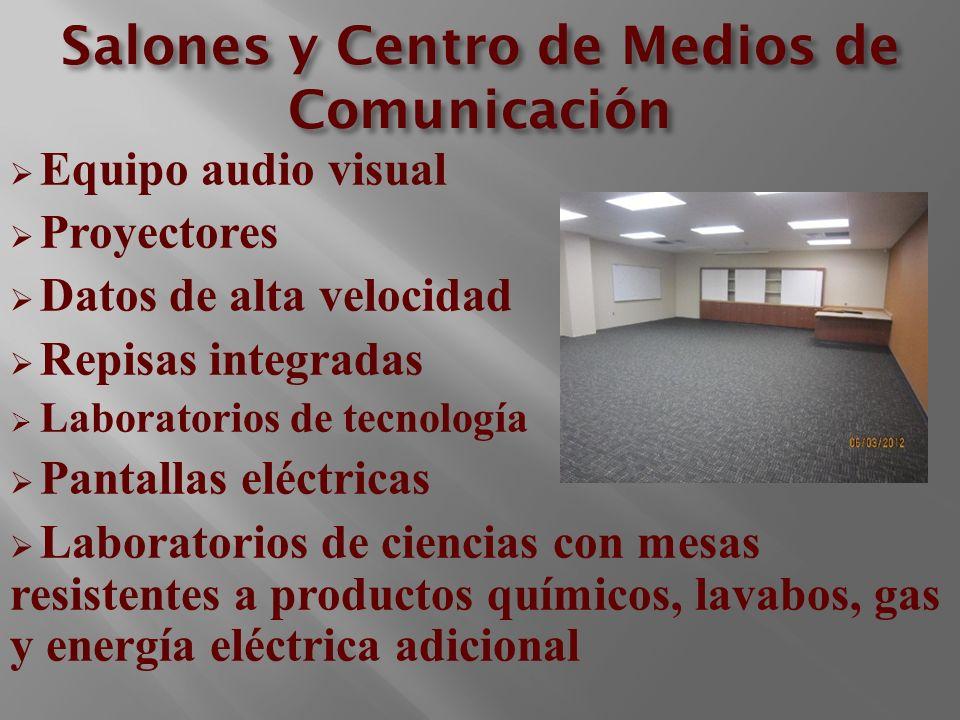 Salones y Centro de Medios de Comunicación Equipo audio visual Proyectores Datos de alta velocidad Repisas integradas Laboratorios de tecnología Panta