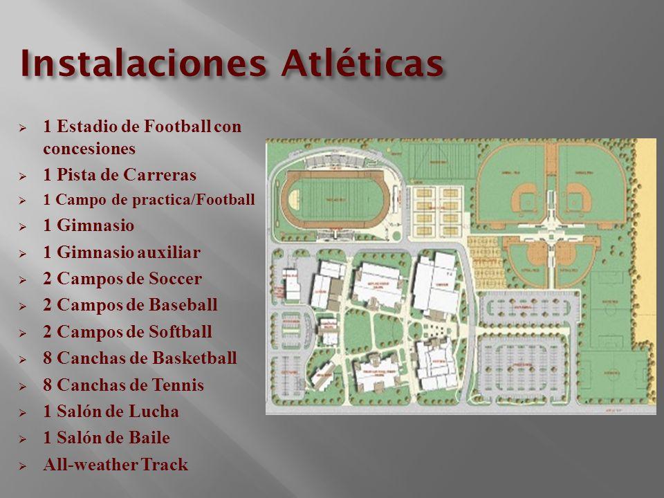 Instalaciones Atléticas 1 Estadio de Football con concesiones 1 Pista de Carreras 1 Campo de practica/Football 1 Gimnasio 1 Gimnasio auxiliar 2 Campos