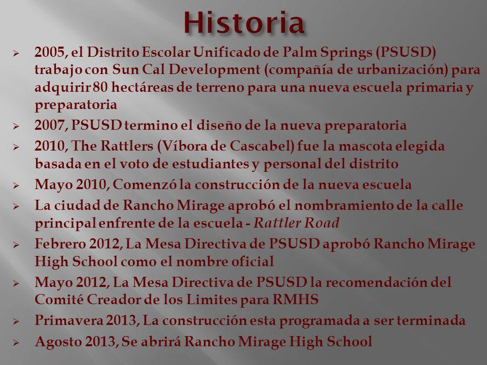 2005, el Distrito Escolar Unificado de Palm Springs (PSUSD) trabajo con Sun Cal Development (compañía de urbanización) para adquirir 80 hectáreas de t