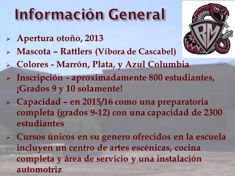 Apertura otoño, 2013 Mascota – Rattlers (Víbora de Cascabel) Colores - Marrón, Plata, y Azul Columbia Inscripción - aproximadamente 800 estudiantes, ¡