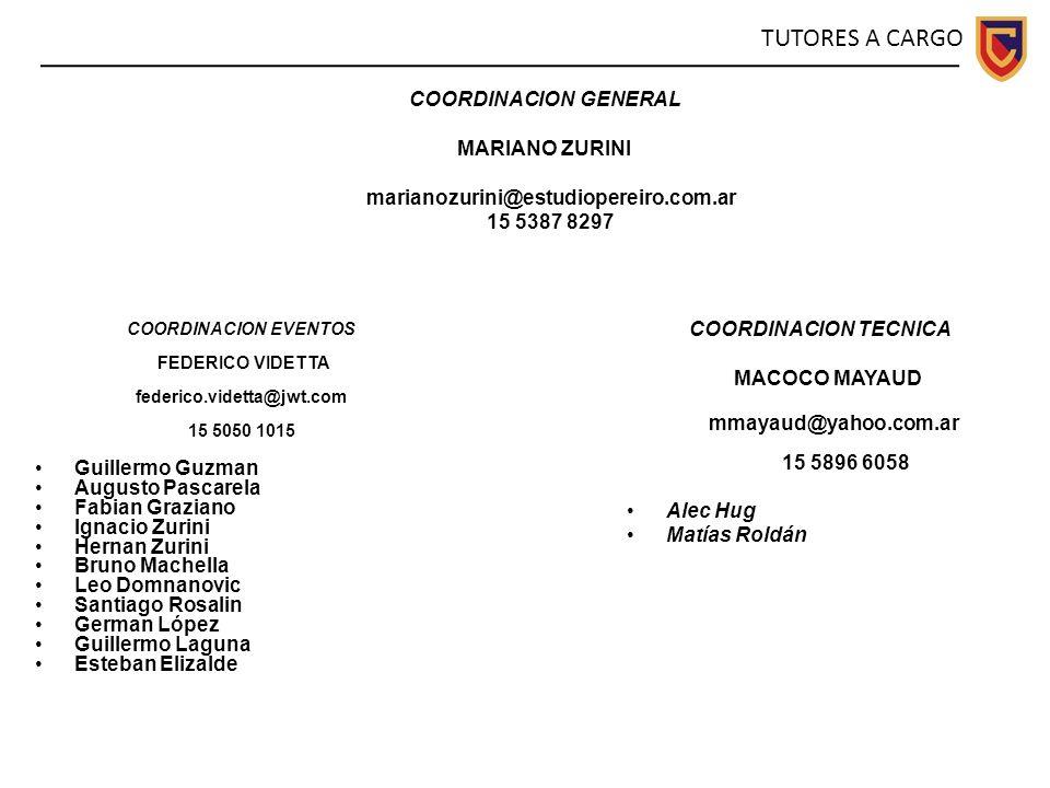 COORDINACION GENERAL MARIANO ZURINI marianozurini@estudiopereiro.com.ar 15 5387 8297 COORDINACION EVENTOS FEDERICO VIDETTA federico.videtta@jwt.com 15