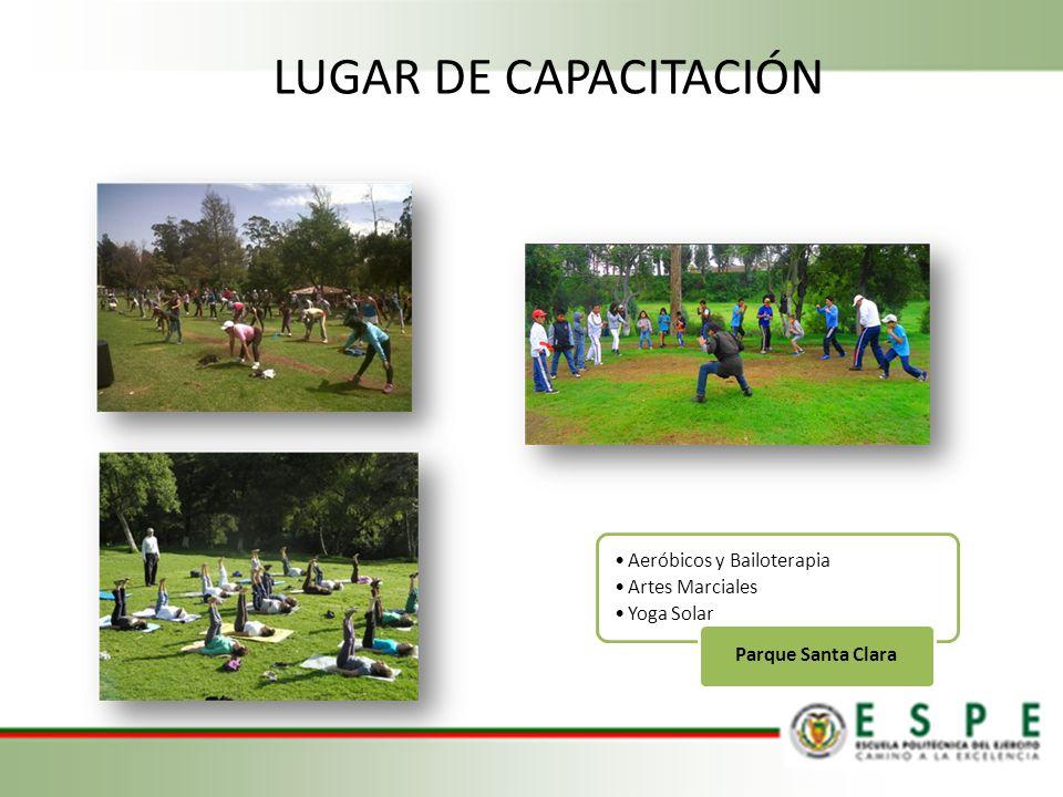 Aeróbicos y Bailoterapia Artes Marciales Yoga Solar Parque Santa Clara LUGAR DE CAPACITACIÓN