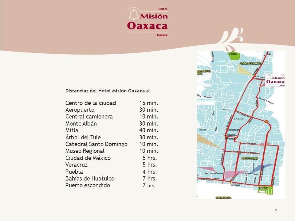 Distancias del Hotel Misión Oaxaca a: Centro de la ciudad15 min.