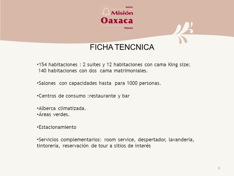 6 FICHA TENCNICA 154 habitaciones : 2 suites y 12 habitaciones con cama King size; 140 habitaciones con dos cama matrimoniales.
