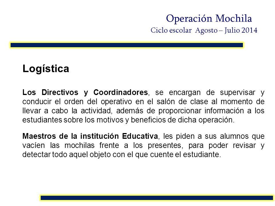 Logística Los Directivos y Coordinadores, se encargan de supervisar y conducir el orden del operativo en el salón de clase al momento de llevar a cabo