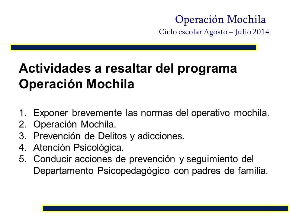 Actividades a resaltar del programa Operación Mochila 1.Exponer brevemente las normas del operativo mochila. 2.Operación Mochila. 3.Prevención de Deli