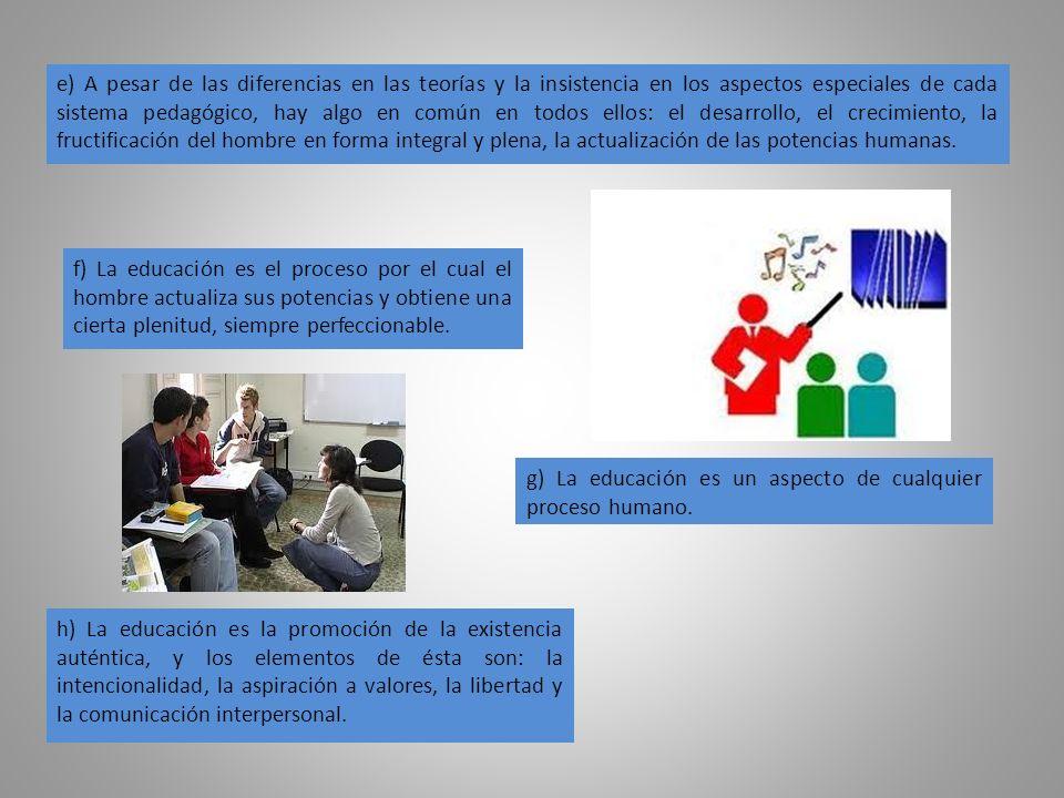 g) La educación es un aspecto de cualquier proceso humano.