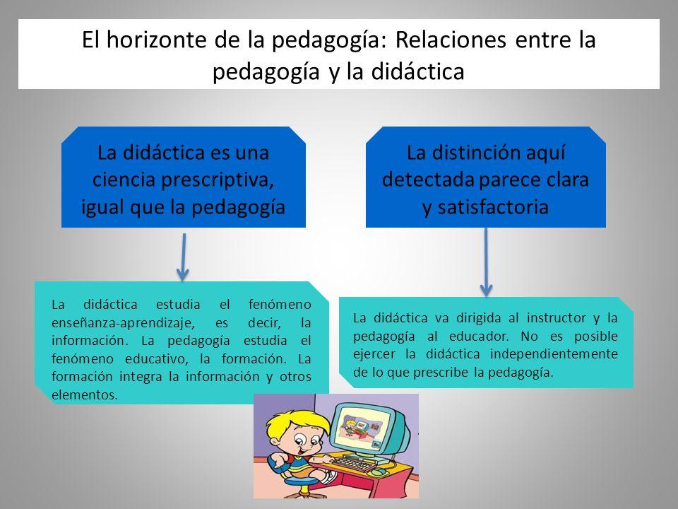 El horizonte de la pedagogía: Relaciones entre la pedagogía y la didáctica La distinción aquí detectada parece clara y satisfactoria La didáctica es una ciencia prescriptiva, igual que la pedagogía La didáctica estudia el fenómeno enseñanza-aprendizaje, es decir, la información.
