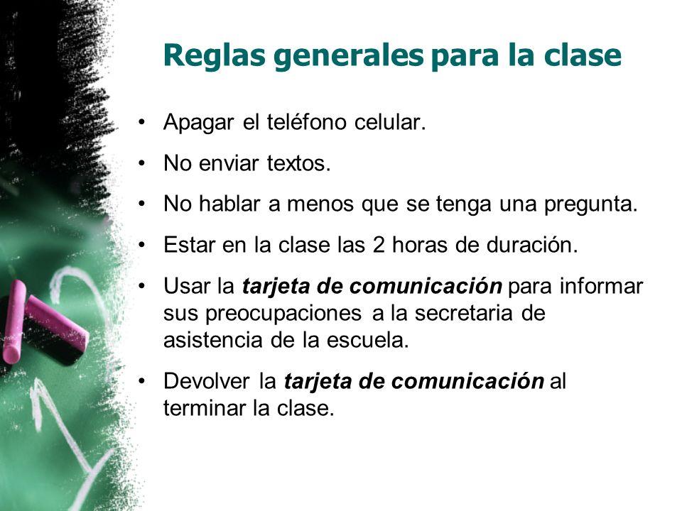 Reglas generales para la clase Apagar el teléfono celular.