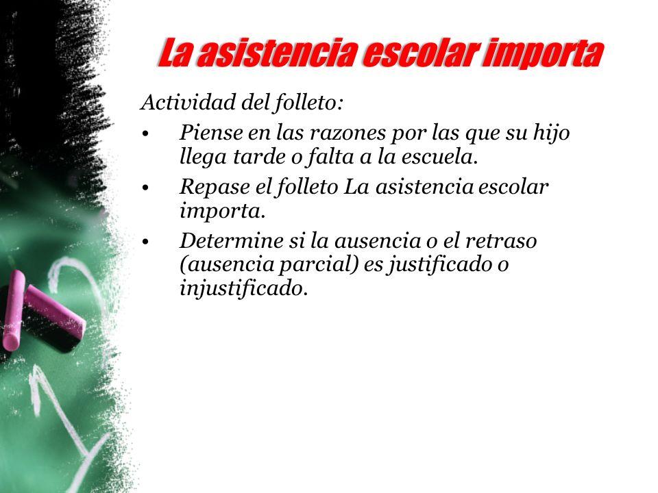 La asistencia escolar importaLa asistencia escolar importa Actividad del folleto: Piense en las razones por las que su hijo llega tarde o falta a la escuela.
