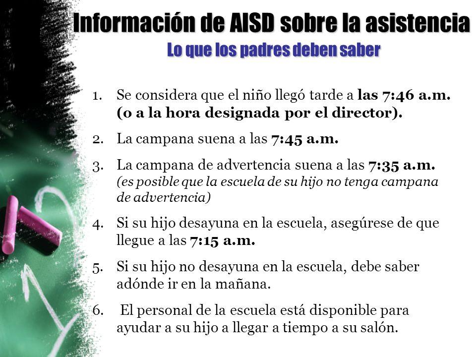 Información de AISD sobre la asistencia Lo que los padres deben saber 1.Se considera que el niño llegó tarde a las 7:46 a.m.
