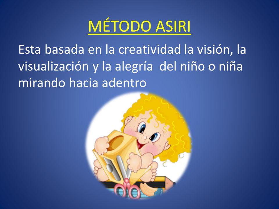 MÉTODO ASIRI Esta basada en la creatividad la visión, la visualización y la alegría del niño o niña mirando hacia adentro