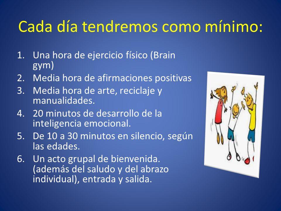 Cada día tendremos como mínimo: 1.Una hora de ejercicio físico (Brain gym) 2.Media hora de afirmaciones positivas 3.Media hora de arte, reciclaje y ma