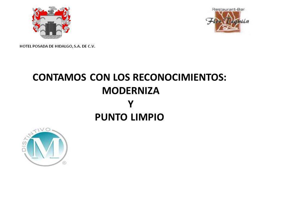 HOTEL POSADA DE HIDALGO, S.A. DE C.V. CONTAMOS CON LOS RECONOCIMIENTOS: MODERNIZA Y PUNTO LIMPIO