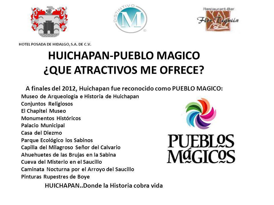 HOTEL POSADA DE HIDALGO, S.A. DE C.V. Museo de Arqueología e Historia de Huichapan Conjuntos Religiosos El Chapitel Museo Monumentos Históricos Palaci