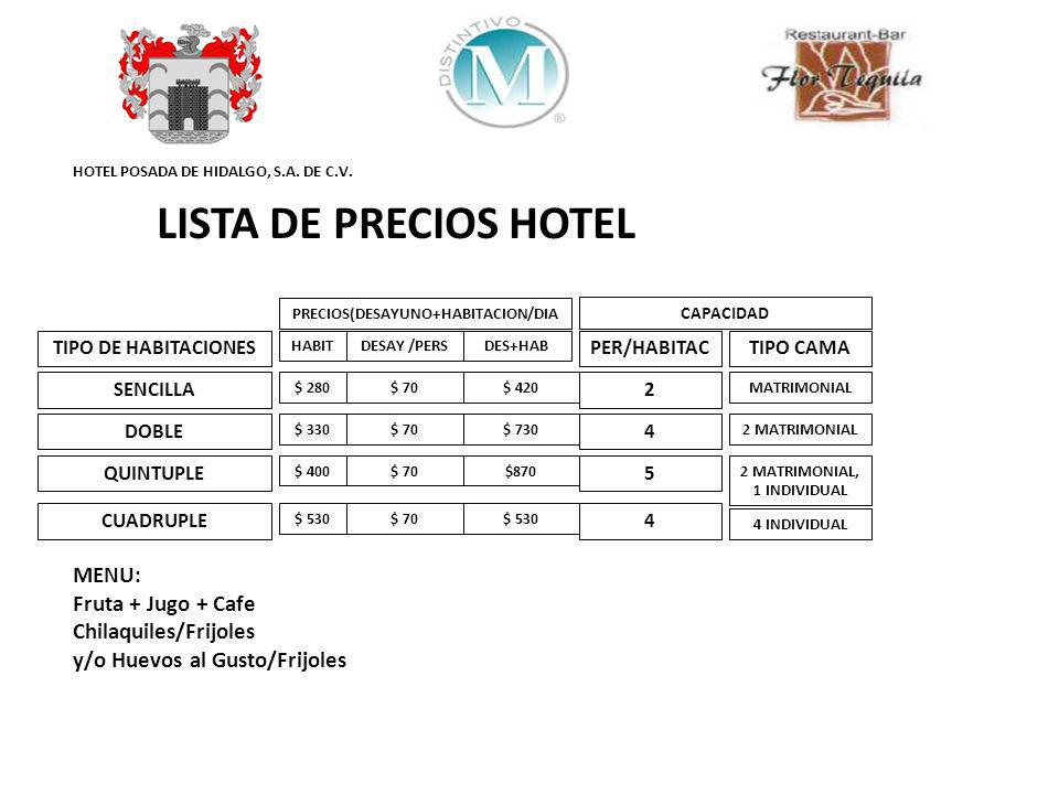 HOTEL POSADA DE HIDALGO, S.A. DE C.V. LISTA DE PRECIOS HOTEL TIPO DE HABITACIONES SENCILLA DOBLE QUINTUPLE CUADRUPLE HABIT $ 280 $ 330 $ 400 $ 530 DES