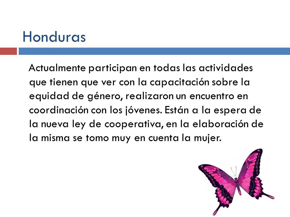Honduras Actualmente participan en todas las actividades que tienen que ver con la capacitación sobre la equidad de género, realizaron un encuentro en