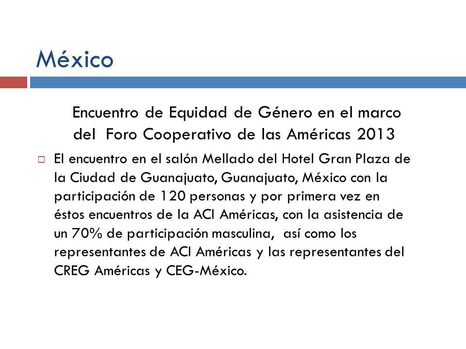 México Encuentro de Equidad de Género en el marco del Foro Cooperativo de las Américas 2013 El encuentro en el salón Mellado del Hotel Gran Plaza de l