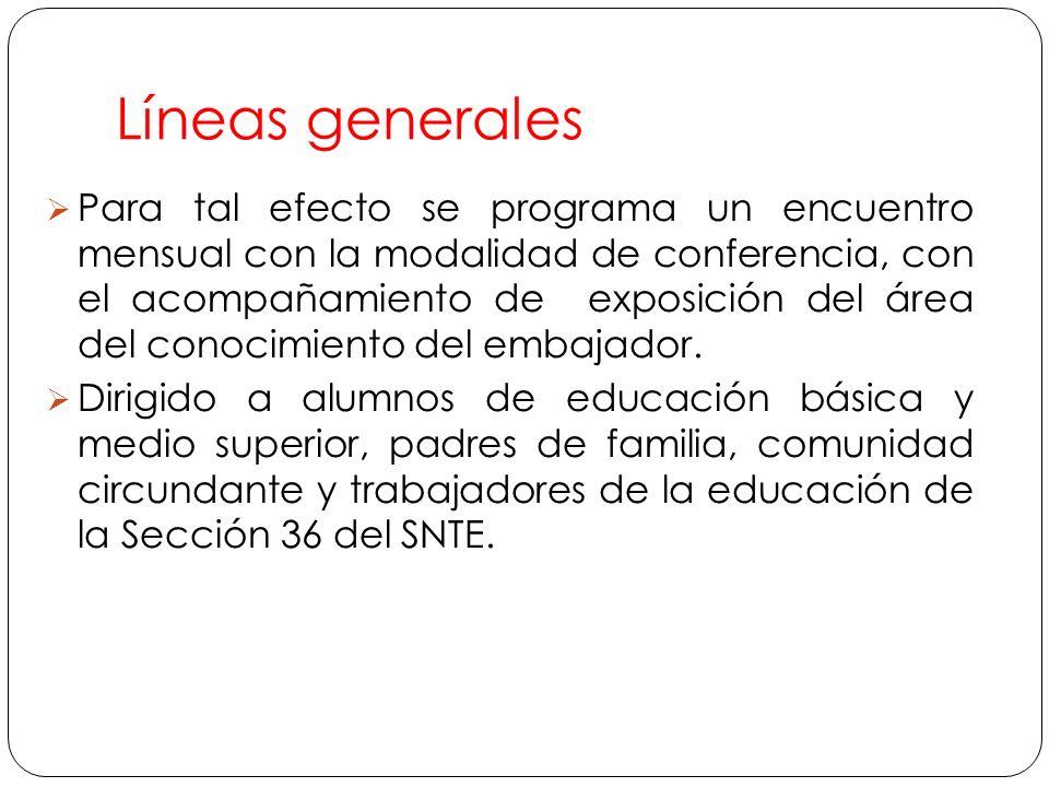 Líneas generales Para tal efecto se programa un encuentro mensual con la modalidad de conferencia, con el acompañamiento de exposición del área del conocimiento del embajador.