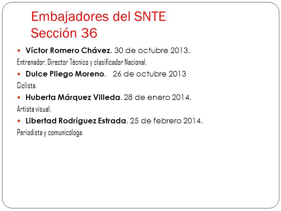 Embajadores del SNTE Sección 36 Víctor Romero Chávez. 30 de octubre 2013. Entrenador, Director Técnico y clasificador Nacional. Dulce Pliego Moreno. 2