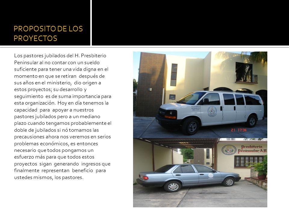 PROPOSITO DE LOS PROYECTOS Los pastores jubilados del H.