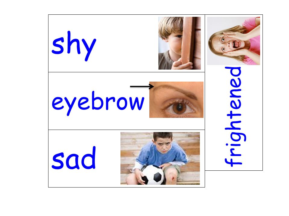 eyebrow frightened sad shy