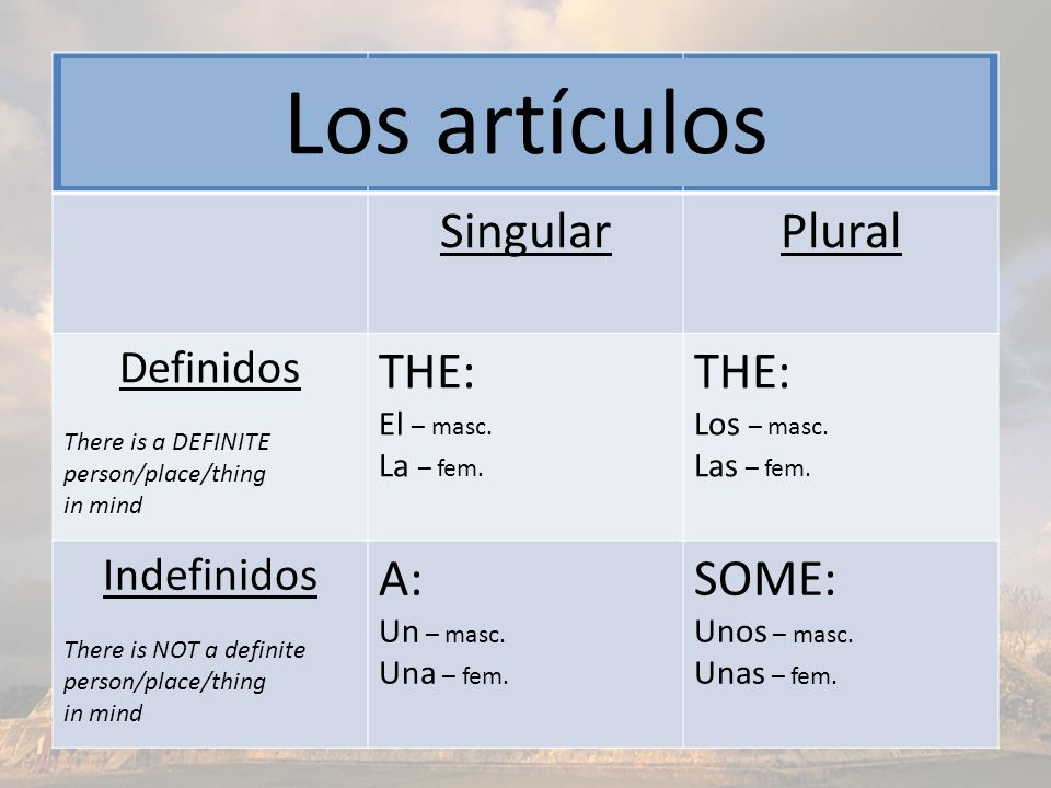 SingularPlural Definidos There is a DEFINITE person/place/thing in mind THE: El – masc. La – fem. THE: Los – masc. Las – fem. Indefinidos There is NOT