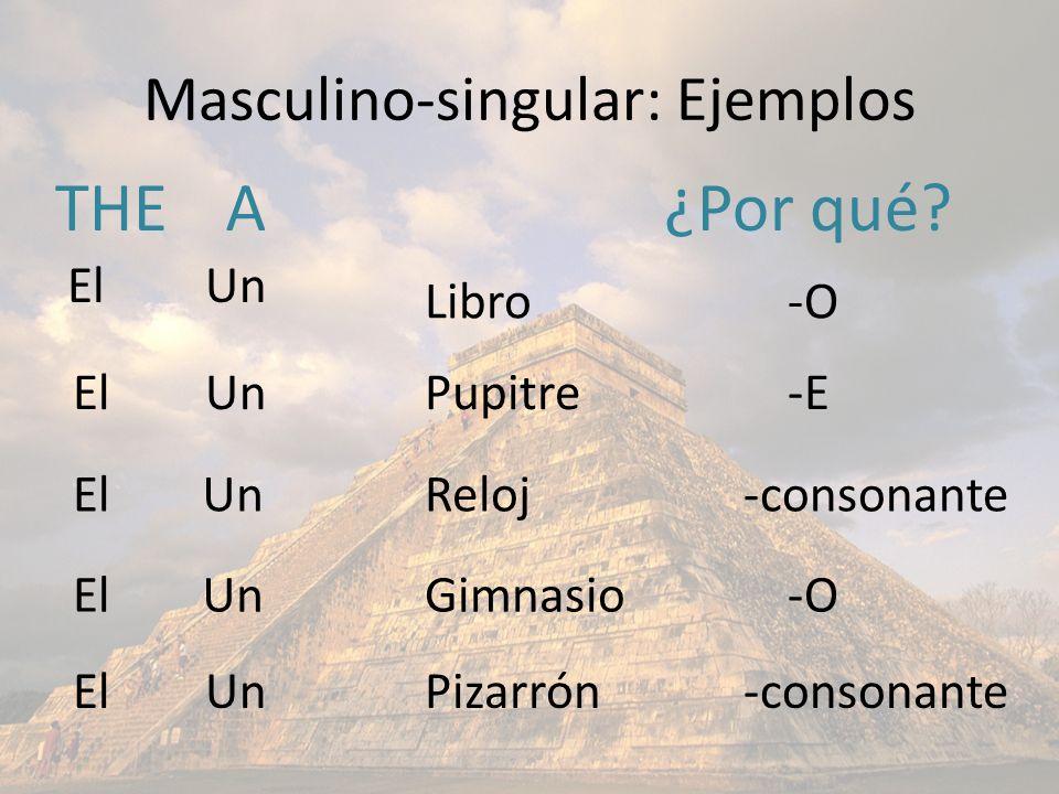 Masculino-singular: Ejemplos THEA Libro Pupitre Pizarrón Gimnasio Reloj El Un ¿Por qué? -O -E -consonante